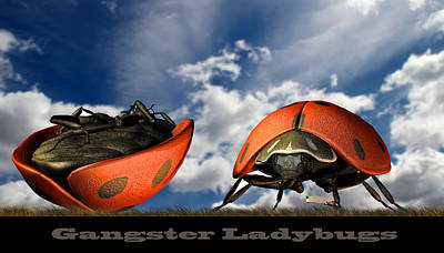 Weird Digital Art - Gangster Ladybugs Nature Gone Mad by Bob Orsillo