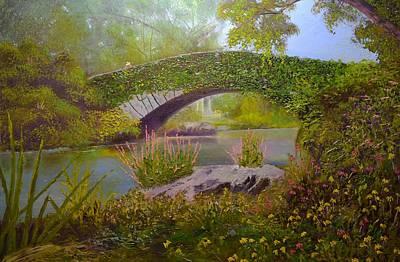 Gardens Painting - Gapstow Bridge Central Park by Michael Mrozik