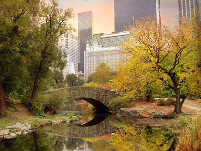 Pond Photograph - Gapstow Bridge Reflections by Jessica Jenney