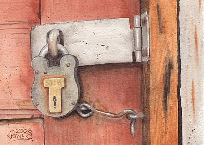 Latch Hook Painting - Garage Lock Number Four by Ken Powers