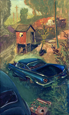 Road Rod Painting - Garbers Junk Yard by James Reed