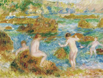 Summer Fun Painting - Garcons Nus Dans Les Rochers A Guernsey, 1883 by Pierre Auguste Renoir