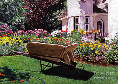 Garden At Patio Lane Print by David Lloyd Glover