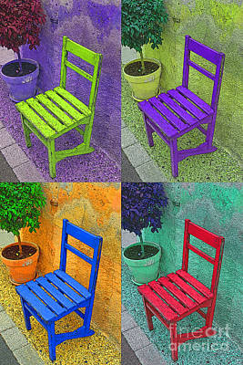Garden Scene Mixed Media - Garden Chairs  by Tony Craddock