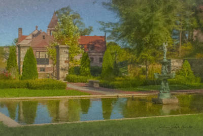 Mcentee Painting - Garden Fountain At Ames Free Library by Bill McEntee