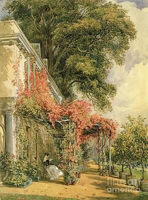 Park Scene Painting - Garden Front Of Mr Robert Vernon's House At Twickenham by John James Chalon