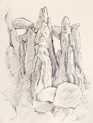 Garden Of The Gods Pulpit Rock Ink On Toned Paper  Print by Adam Long