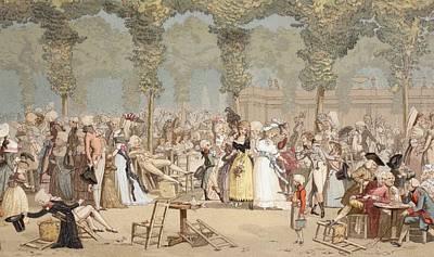 Garden On The Palais-royal, Paris Print by Vintage Design Pics