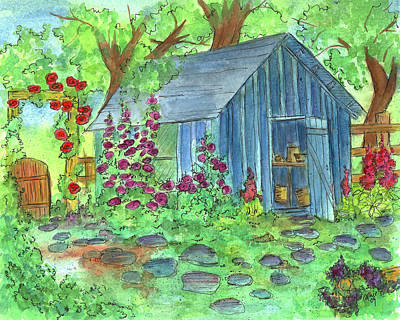 Walkway Drawing - Garden Potting Shed by Cathie Richardson