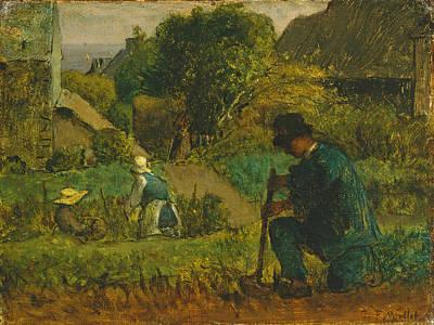 Painting - Garden Scene by Jean Francois Millet