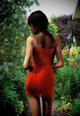 Garden Scene Mixed Media - Garden Stroll by Nancy Pauling