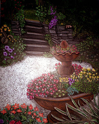 Piglets Drawing - Garden View by Michelle Audas