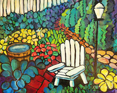 Kitchen Chair Painting - Garden With Lamp by Peggy Johnson
