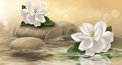 Digital Painting - Gardenia by Veronica Minozzi