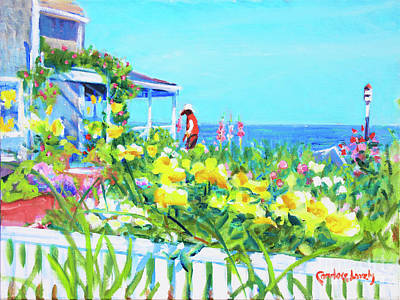 Side Porch Painting - Gardening On Front Street Nantucket by Candace Lovely