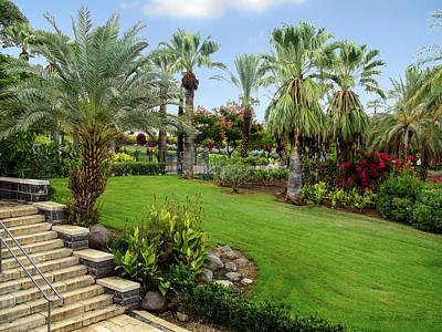 Gardens At Mount Of Beatitudes Israel Print by Brian Tada