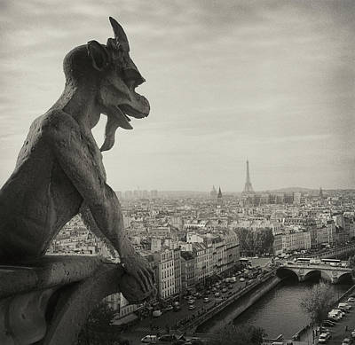 Black Photograph - Gargoyle Of Notre Dame by Zeb Andrews