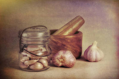 Glasses Photograph - Garlic In A Jar by Tom Mc Nemar