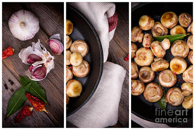Garlic Mushrooms Triptych Print by Jane Rix