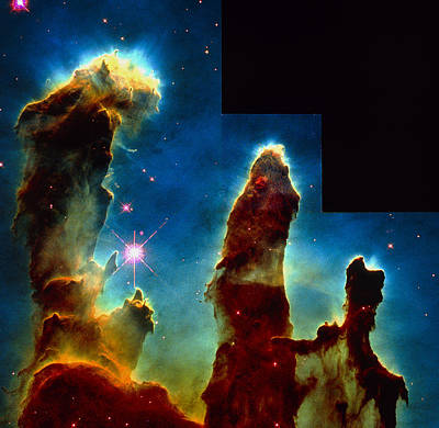 Gas Pillars In Eagle Nebula Print by Nasaesastscij.hester & P.scowen, Asu