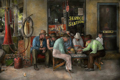 Window Bench Photograph - Gas Station - Playing Checkers Together 1939 by Mike Savad