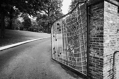 Bus Photograph - Gate And Driveway Of Graceland Elvis Presleys Mansion Home In Memphis Tennessee Usa by Joe Fox