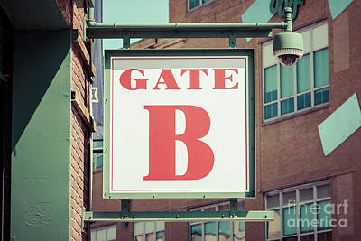 Red Sox Photograph - Gate B Sign At Boston Fenway Park by Paul Velgos