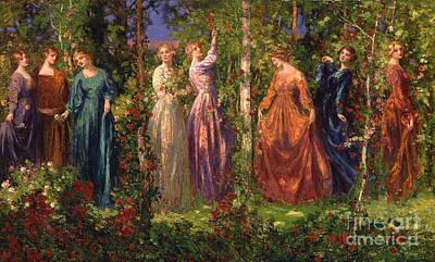 Rosebud Painting - Gather Ye Rosebuds While Ye May by Thomas Edwin Mostyn