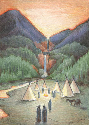 Powwow Drawing - Gathering At The Falls by Amy S Turner