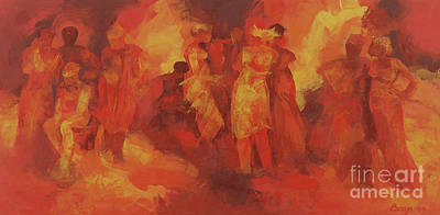 Abstract - Expressionist - African Art Painting - Gathering by Bayo Iribhogbe