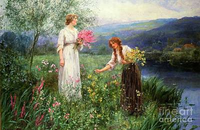 Flower Painting - Gathering Flowers by Henry John