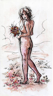 Nude Children Drawing - Gathering Flowers by Rachel Christine Nowicki