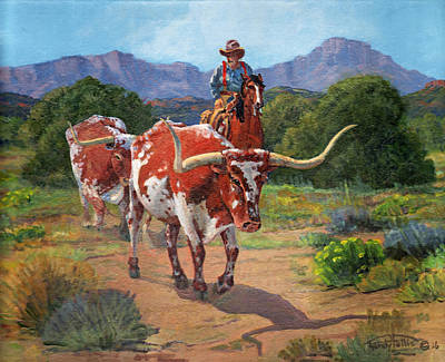 Cattle Drive Painting - Gathering Longhorns by Randy Follis