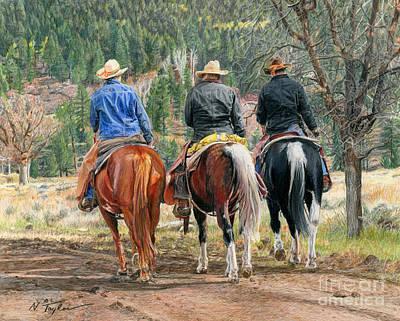 Ranching Drawing - Gathering Pine Ridge by Nichole Taylor