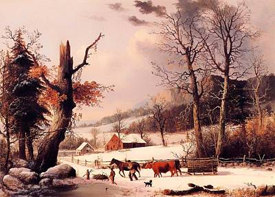 Gathering Wood For Winter Print by Mountain Dreams