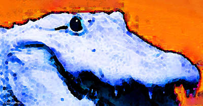 Alligator Painting - Gator Art - Swampy by Sharon Cummings