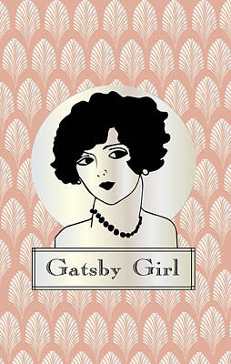 Gatsby Girl In Pink And Pearl Print by Cecely Bloom