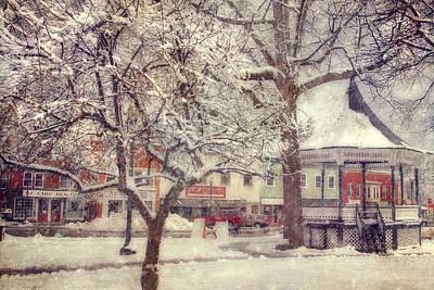 Gazebo In Snow - Milford New Hampshire Print by Joann Vitali