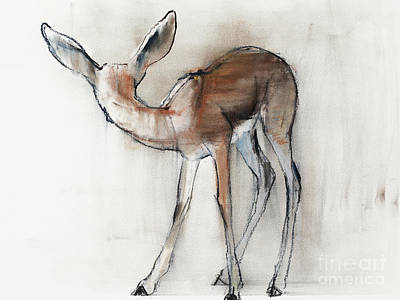 Brown Snake Painting - Gazelle Fawn  Arabian Gazelle by Mark Adlington