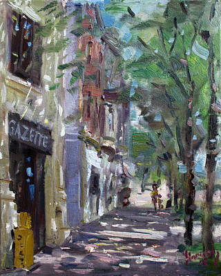 Fall Painting - Gazette At 3d And Niagara Streets by Ylli Haruni
