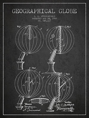 North Drawing - Geaographical Globe Patent From 1900 - Charcoal by Aged Pixel