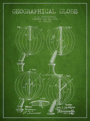 North Drawing - Geaographical Globe Patent From 1900 - Green by Aged Pixel