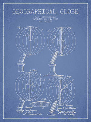 North Drawing - Geaographical Globe Patent From 1900 - Light Blue by Aged Pixel