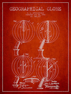 North Drawing - Geaographical Globe Patent From 1900 - Red by Aged Pixel