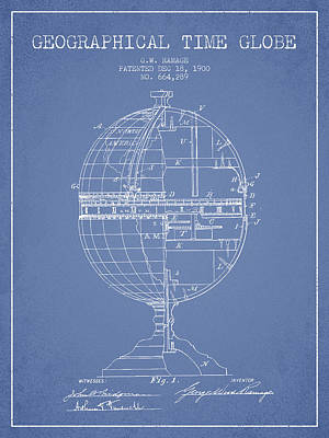 North Drawing - Geaographical Time Globe Patent From 1900 - Light Blue by Aged Pixel