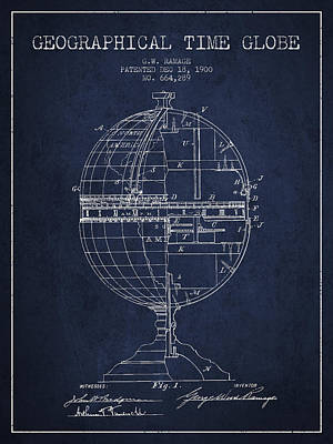 North Drawing - Geaographical Time Globe Patent From 1900 - Navy Blue by Aged Pixel