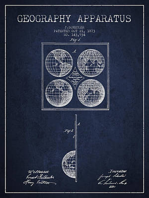 North Drawing - Geaography Apparatus Patent From 1873 - Navy Blue by Aged Pixel