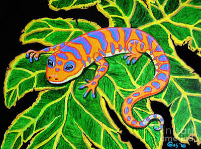 Gecko Hanging On Print by Nick Gustafson