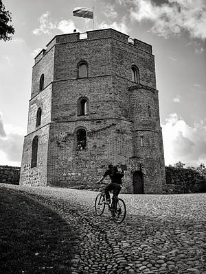 Vilnius Photograph - Gediminas Tower And Bicycler Lithuania by Mary Lee Dereske