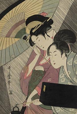 Attendant Painting - Geisha And Attendant On A Rainy Night by Kitagawa Utamaro